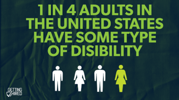 This image shows four people with one that is in color to indicate one in four poeple in the United States have some of disability.