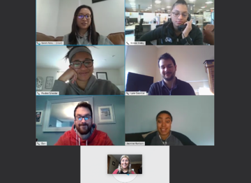 the Getting Hired team having a remote meeting.